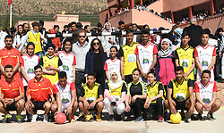 The Duke and Duchess of Sussex with students during their visit to the local Secondary School, Lycee Qualifiant Grand Atlas, where they met with students and teachers in Asni Town, Atlas Mountains on the second day of their tour of Morocco.