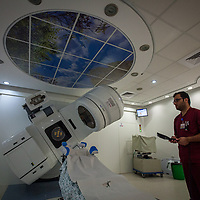 Mu'tasem Al-Teill, technician at the Cancer Treatment Centre of the Augusta Victoria Hospital, in the radiotherapy ward. The Augusta Victoria Hospital is located on the southern side of Mount of Olives in East Jerusalem and is run by the Lutheran World Federation, LWF.