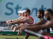 "Rio de Janeiro. BRAZIL.   CRO M1X. Damir MARTIN, Quarterfinal Men's Single Sculls.2016 Olympic Rowing Regatta. Lagoa Stadium,<br /> Copacabana,  ""Olympic Summer Games""<br /> Rodrigo de Freitas Lagoon, Lagoa.   Tuesday  09/08/2016 <br /> <br /> [Mandatory Credit; Peter SPURRIER/Intersport Images]"