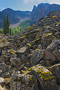 The Rock Pile at the east end of Moraine Lake<br />Banff National Park<br />Alberta<br />Canada
