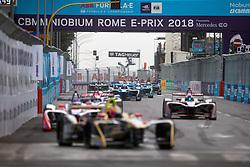 April 14, 2018 - Rome, RM, Italy - The first lap of the Rome E-Prix Round 7 as part of the ABB FIA Formula E Championship on April 14, 2018 in Rome, Italy. (Credit Image: © Danilo Di Giovanni/NurPhoto via ZUMA Press)