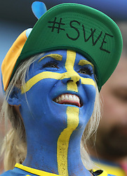 July 3, 2018 - Saint Petersburg, Russia - A fan of Sweden is seen prior to the 2018 FIFA World Cup round of 16 match between Switzerland and Sweden in Saint Petersburg, Russia, July 3, 2018. (Credit Image: © Cao Can/Xinhua via ZUMA Wire)