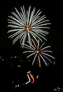 Fireworks explode over the Town of Woodbury and the New York State Thruway as seen from the scenic overlook on Route 6 in Central Valley, N.Y..July 3, 2004.