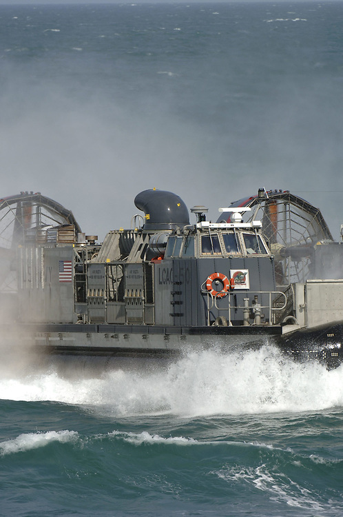 Port Aransas, TX January 15, 2006: Maiden voyage of the USS San Antonio (LPD-17) amphibious transport dock after her commissioning ceremony 14Jan.   The Navy's Landing Craft Air Cushion (LCAC) capable of carrying 100 troops into battle, is demonstrated in the Gulf of Mexico. ©Bob Daemmrich /