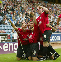 Photo: Aidan Ellis.<br /> Huddersfield Town v Bristol City. Coca Cola League 1. 12/08/2006.<br /> Bristol's Phil Jevons leads the celebrations after scoring the first goal of the game
