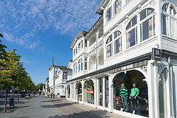 Shops in old traditional villas on street in Binz seaside resort on Rugen Island in Germany