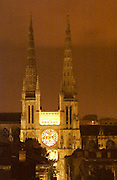 The cathedral Saint Andre in Bordeaux, 11th-12th century, with its majestic twin gothic towers, view over the rooftops, at night