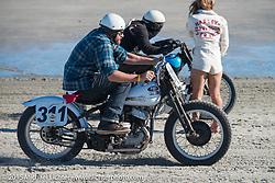 Warren Heir on his 1947 Harley-Davidson WLA Flathead racer at the Race of Gentlemen. Wildwood, NJ, USA. October 11, 2015.  Photography ©2015 Michael Lichter.