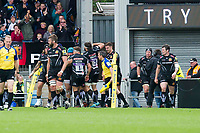 Rugby Union - 2016 / 2017 Aviva Premiership - Semi-Final: Exeter Chiefs vs. Saracens<br /> <br /> Exeter celebrate their int try beneath scoreboard, at Sandy Park.<br /> <br /> COLORSPORT/WINSTON BYNORTH