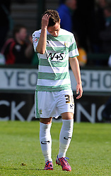 Dejection for Yeovil Town's Josh Sheehan as Yeovil are relegated to League Two. - Photo mandatory by-line: Harry Trump/JMP - Mobile: 07966 386802 - 11/04/15 - SPORT - FOOTBALL - Sky Bet League One - Yeovil Town v Notts County - Huish Park, Yeovil, England.