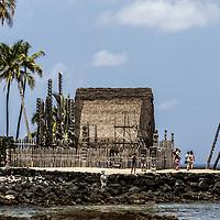 Temple at Pu'uhonua o Honaunau once held the bones of 23 Ali'i (noble) chiefs.