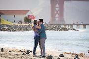 Robert Hernandez proposes to Kristin Roberson at Crissy Field in San Francisco, California, on May 10, 2014. (Stan Olszewski/SOSKIphoto)