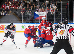 Brayden Schenn of Canada vs Dennis Sveum of Norway, Henrik Haukeland of Norway during the 2017 IIHF Men's World Championship group B Ice hockey match between National Teams of Canada and Norway, on May 15, 2017 in AccorHotels Arena in Paris, France. Photo by Vid Ponikvar / Sportida