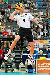 11.09.2011, O2 Arena, Prag, CZE, Europameisterschaft Volleyball Maenner, Vorrunde D, Deutschland (GER) vs Slowakei (SVK), im Bild Stefan Hübner/Huebner (#9 GER / Dueren GER) // during the 2011 CEV European Championship, Germany vs Slovakia at O2 Arena, Prague, 2011-09-11. EXPA Pictures © 2011, PhotoCredit: EXPA/ nph/  Kurth       ****** out of GER / CRO  / BEL ******