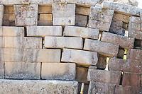 erosion in a main temple wall at Machu Picchu, Incas ruins in the peruvian Andes at Cuzco Peru