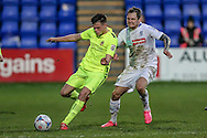 Jonny Giles (Southport) and James Norwood (Tranmere Rovers) during the Vanarama National League match between Tranmere Rovers and Southport at Prenton Park, Birkenhead, England on 6 February 2016. Photo by Mark P Doherty.