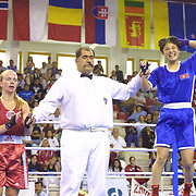 2. WOMEN'S WORLD BOXING CHAMPIONSHIPS.<br /> Norway's Kitel Henrite (R) between PRK's Jo Pok sun. Dilek Sabanci Sport Hall Antalya/Turkey<br /> Photo by Aykut AKICI/TurkSporFoto