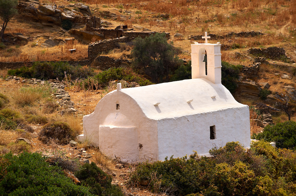 Traditional Greek Orthodox church on Ios, Cyclades Island, Greece .<br /> <br /> Visit our GREEK HISTORIC PLACES PHOTO COLLECTIONS for more photos to download or buy as wall art prints https://funkystock.photoshelter.com/gallery-collection/Pictures-Images-of-Greece-Photos-of-Greek-Historic-Landmark-Sites/C0000w6e8OkknEb8