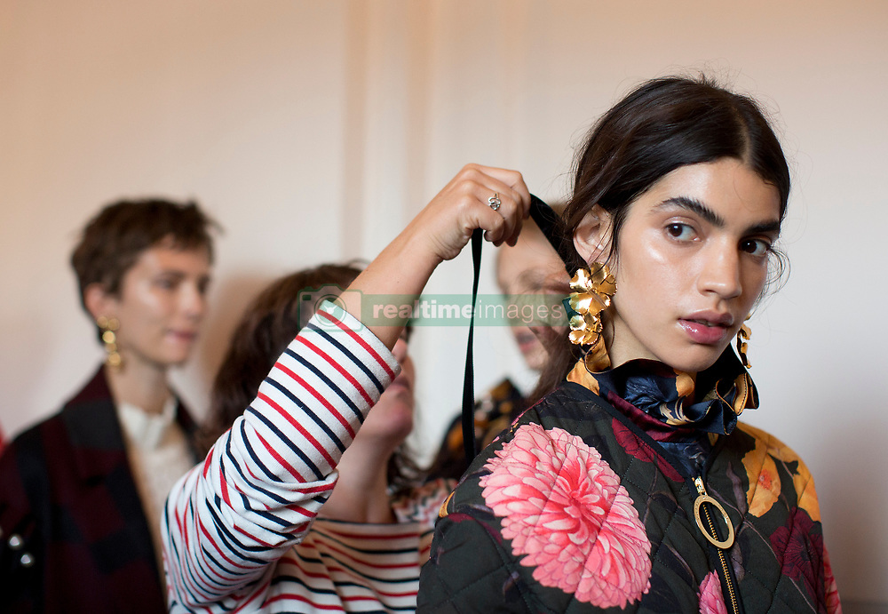 Models backstage during the Mother of Pearl London Fashion Week SS18 show held at The Tapestry Room in The Ned, London.PRESS ASSOCIATION. Picture date: Saturday September 16, 2017. Photo credit should read: Isabel Infantes/PA Wire