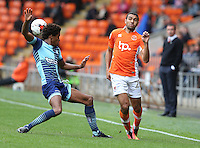 Blackpool's Colin Daniel and Wycombe Wanderers' Sido Jombati<br /> <br /> Photographer Stephen White/CameraSport<br /> <br /> Football - The EFL Sky Bet League Two - Blackpool v Wycombe Wanderers - Saturday 20 August 2016 - Bloomfield Road - Blackpool<br /> <br /> World Copyright © 2016 CameraSport. All rights reserved. 43 Linden Ave. Countesthorpe. Leicester. England. LE8 5PG - Tel: +44 (0) 116 277 4147 - admin@camerasport.com - www.camerasport.com