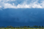 Spring rainstorm rolling in over the Nemunas River Delta, Lithuania