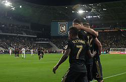 November 1, 2018 - Los Angeles, California, U.S - Christian Ramirez #12 of the LAFC is congratulated after scoring a goal to give them a 2-1 lead during their MLS playoff game with the Real Salt Lake on Thursday November 1, 2018 at Banc of California Stadium in Los Angeles, California. LAFC vs Real Salt Lake. (Credit Image: © Prensa Internacional via ZUMA Wire)