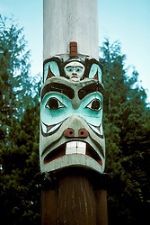 AK: Alaska Sitka National Historic Park, Saxman totem pole    .Photo Copyright: Lee Foster, lee@fostertravel.com, www.fostertravel.com, (510) 549-2202.Image: aksitk207