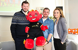 March 14, 2018 - Brussels, BELGIUM - KBVB-URBSFA marketing manager Benjamin Goeders, designer Arnaud Hermant and ING's Marie-Noelle De Greef pictured during the presentation of RED, the new mascotte for the Belgian national soccer team, the Red Devils, in Brussels Wednesday 14 March 2018. BELGA PHOTO VIRGINIE LEFOUR (Credit Image: © Virginie Lefour/Belga via ZUMA Press)