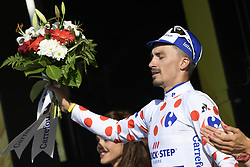 July 17, 2018 - Le Grand Bornand, FRANCE - French Julian Alaphilippe of Quick-Step Floors celebrates on the podium in the red polka-dot jersey for best climber after the tenth stage in the 105th edition of the Tour de France cycling race, 112.5 km from Annecy to Le Grand Bornand, France, Tuesday 17 July 2018. This year's Tour de France takes place from July 7th to July 29th. BELGA PHOTO YORICK JANSENS (Credit Image: © Yorick Jansens/Belga via ZUMA Press)