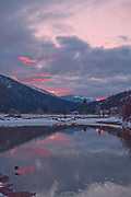 Grizzly Ridge, Mt. Hough, Winter Scenes, Reflection Pool, Cool Water Pools, Genesee Valley Ranch, Black and White Art, Willow, Livestock Pond, Black and White Photography, California Mountains, Sierra Nevada Mountains, Cloudy Sunset, Colorful Sunset, Pink Clouds, Storm Clouds, Dark Skies, Stop Sign
