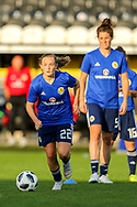 Erin Cuthbert (#22) of Scotland warms up ahead of the 2019 FIFA Women's World Cup UEFA Qualifier match between Scotland Women and Switzerland at the Simple Digital Arena, St Mirren, Scotland on 30 August 2018.