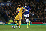 James Tomkins of Crystal Palace is chased by Romelu Lukaku of Everton. Premier league match, Everton v Crystal Palace at Goodison Park in Liverpool, Merseyside on Friday 30th September 2016.<br /> pic by Chris Stading, Andrew Orchard sports photography.