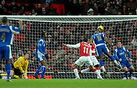 Photo: Ed Godden.<br />Arsenal v Portsmouth. The Barclays Premiership. 16/12/2006. Noe Pamarot scores for Portsmouth.