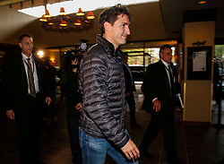 Prime Minister Justin Trudeau arrives at a Liberal Party cabinet retreat in Kananaskis, AB, Canada on Sunday, April 24, 2016. Photo by Jeff McIntosh/CP/ABACAPRESS.COM  | 544539_001 Kananaskis Canada