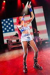"© Licensed to London News Pictures. 12/10/2012. London, UK.  Azealia Banks performing live at O2 Shepherds Bush Empire.  Azealia Amanda Banks, formerly known under the pseudonym Miss Bank$ (born May 31, 1991,) is an American rapper, singer and lyricist from Harlem, New York signed to Interscope/Polydor. She rose in notability in 2011 when she topped NME's ""Cool List"" for the year. On December 5, 2011, the BBC announced that Banks had been nominated for the Sound of 2012, where she ultimately finished third.  Her debut single, ""212"" featuring Lazy Jay, was released on December 6, 2011.  Photo credit : Richard Isaac/LNP"
