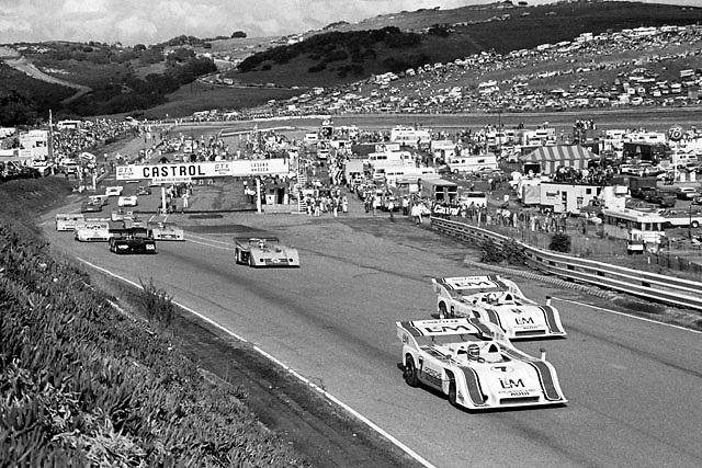 Pace lap of 1972 Can-Am at Laguna Seca (black and white negative).