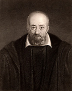 George Buchanan (1506-1582) Scottish humanist, historian and scholar. Tutor to Mary Queen of Scots (1562) and in 1567 to her son James VI.  Keeper of the Privy Seal of Scotland (1571-1583).  Engraving from 'The Gallery of Portraits' Vol I  by Charles Knight (London, 1833).