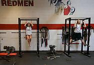 11/7/07 Smith Center, KS L-R.Jamie Strine, Shayla McMurdo in the weight room at Smith Center High School..(Chris Machian/Prairie Pixel Group)