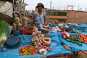 Selling vegetables at Rue Andriamanelo, Tananarivo, Madagascar.