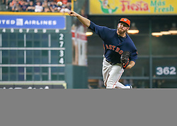 April 29, 2018 - Houston, TX, U.S. - HOUSTON, TX - APRIL 29:  Houston Astros relief pitcher Chris Devenski (47) takes over the mound in the top of the eighth inning during the baseball game between the Oakland Athletics and Houston Astros on April 29, 2018 at Minute Maid Park in Houston, Texas.  (Photo by Leslie Plaza Johnson/Icon Sportswire) (Credit Image: © Leslie Plaza Johnson/Icon SMI via ZUMA Press)