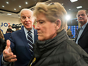 21 JANUARY 2020 - AMES, IOWA: Former US Vice President JOE BIDEN greets supporters on the rope line during a campaign event at the Gateway Hotel and Conference Center in Ames, Tuesday. About 150 people came to listen to former Vice President Biden talk about his reasons for running for President. Iowa hosts the first event of the presidential election cycle. The Iowa Caucuses are Feb. 3, 2020.        PHOTO BY JACK KURTZ