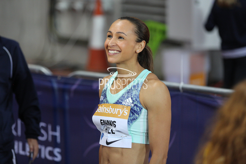 Jessica Ennis-Hill of Great Britain in the 100m hurdles during the Sainsbury's Anniversary Games at the Queen Elizabeth II Olympic Park, London, United Kingdom on 24 July 2015. Photo by Phil Duncan.