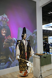 """A SEED Solutions humanoid robot performs a Japanese musical drama called """"Noh"""" at the World Robot Summit in Tokyo on October 18, 2018. Photo by Farzaneh Khademian/ABACAPRESS.COM"""