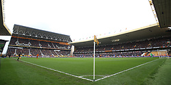 """General view of the action during the Sky Bet Championship match at Molineux, Wolverhampton. PRESS ASSOCIATION Photo. Picture date: Sunday April 15, 2018. See PA story SOCCER Wolves. Photo credit should read: Nigel French/PA Wire. RESTRICTIONS: EDITORIAL USE ONLY No use with unauthorised audio, video, data, fixture lists, club/league logos or """"live"""" services. Online in-match use limited to 75 images, no video emulation. No use in betting, games or single club/league/player publications."""