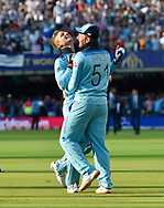 England Are World Champions - Jonny Bairstow of England and Jos Buttler of England celebrate after Martin Guptill of New Zealand is run out in the super over and England win the World Cup during the ICC Cricket World Cup 2019 Final match between New Zealand and England at Lord's Cricket Ground, St John's Wood, United Kingdom on 14 July 2019.