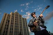 Maxx Cabello Jr. poses for a portrait near San Jose City Hall in San Jose, California, on September 24, 2014. (Stan Olszewski/SOSKIphoto for Content Magazine)
