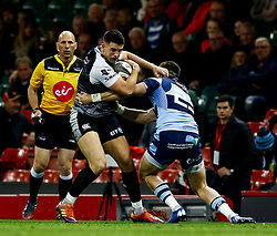 Owen Watkin of Ospreys under pressure from Garyn Smith of Cardiff Blues<br /> <br /> Photographer Simon King/Replay Images<br /> <br /> Guinness PRO14 Round 21 - Cardiff Blues v Ospreys - Saturday 27th April 2019 - Principality Stadium - Cardiff<br /> <br /> World Copyright © Replay Images . All rights reserved. info@replayimages.co.uk - http://replayimages.co.uk