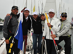 Lasse Kroner (TV Host), Peter Swartling (Record Producer) and Pelle Petterson (Yachtsman) join Bjorn Hansen for the Celebrity Race at the Stena Match Cup 11. Photo: Chris Davies/WMRT