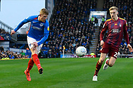 Andy Cannon (14) of Portsmouth crosses the ball during the EFL Sky Bet League 1 match between Portsmouth and Ipswich Town at Fratton Park, Portsmouth, England on 21 December 2019.