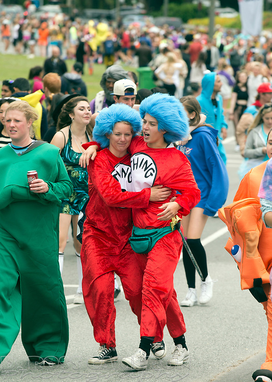 Sometimes, Things just need a little support, as these unidentified Dr. Seuss characters demonstrated during the 104th running of the Bay to Breakers 12k, Sunday, May 17, 2015 in San Francisco. Tens of thousands of runners, some clad in costume and some in nothing at all, populated the 7.42-mile route. (D. Ross Cameron/Bay Area News Group)